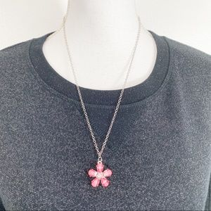 Pink and Silver Tone Flower Necklace